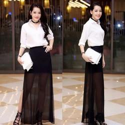 HÀNG CAO CẤP LOẠI I  - Set áo sơ mi trắng  + Chân váy xòe voan đen