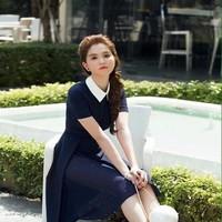 Đầm xòe công sở phối cổ sơ mi trắng xinh đẹp DXV255
