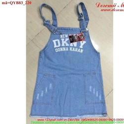 Váy yếm jean phối túi rách nhẹ dễ thương QYB83