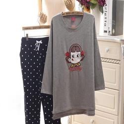Đồ bộ nữ dài tay hình cô gái dễ thương và quần dài chấm bi NN385
