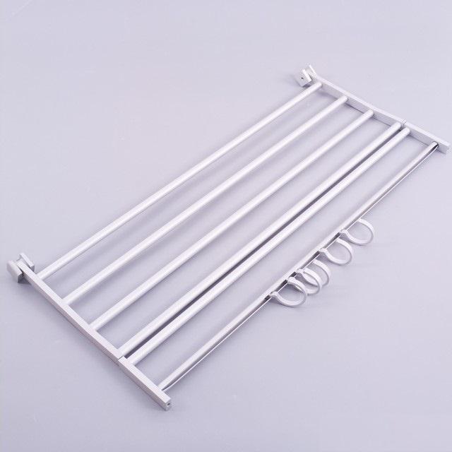 Giàn treo khăn 2 tầng hợp kim nhôm cao cấp có móc treo 3