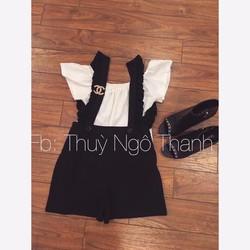 S4921145 - Sét áo bẹt vai + quần yếm short xinh xắn