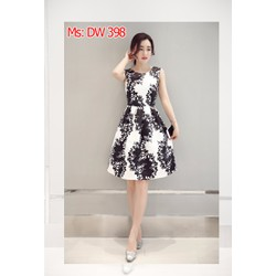 Đầm xòe họa tiết hoa trắng đen cao cấp hàng nhập khẩu có size XXL