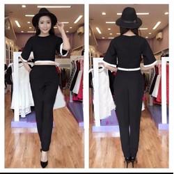 ms 652 - Set áo tay loe viền quần dài đen