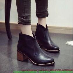 Giày da oxford nữ cổ cao khóa kéo cực style GUBB22