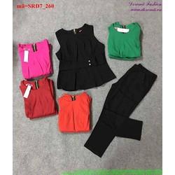 Set áo kiểu sát nách phối quần dài sành điệu bSRD7