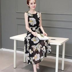Đầm chiffon họa tiết