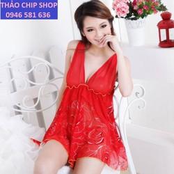 váy ngủ gợi cảm màu đỏ DN99