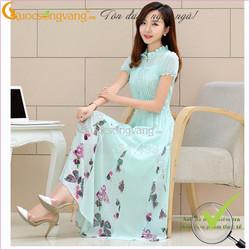 váy đầm maxi đi tiệc chiffon lụa họa tiết bướm GLV005