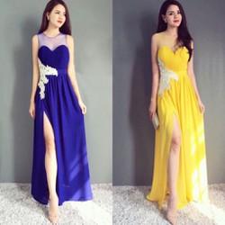 Đầm Dạ Hội Đắp Ren Xẻ Tà