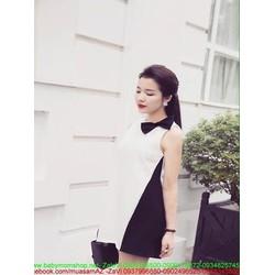 Đầm suông sát nách phối 2 màu đen trắng thắt nơ xinh đẹp