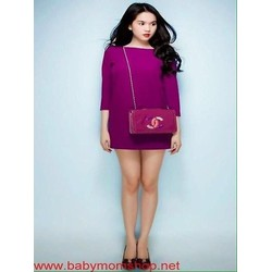 Đầm suông Ngọc trinh thiết kế dài tay màu tím xinh đẹp