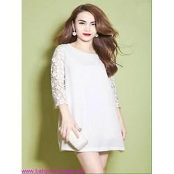 Đầm suông trắng công sở phối tay ren dài thời trang