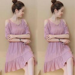 Đầm suông khoét vai bèo  lai xinh iu hàng cực đẹp