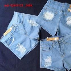 Quần short jean nữ lưng cao wash rách cá tính QSO121