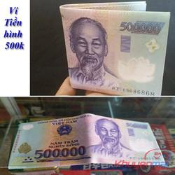 Bóp Ví Nam Hình Tờ Tiền 500k Da Chất LOẠI NHIỀU NGĂN
