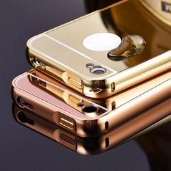 iPhone 4, iPhone 4s - Ốp điện thoại viền kim loại, nắp lưng gương