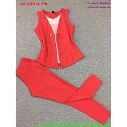 Set áo sát nách giả vest phối quần dài xinh đẹp bSRD14