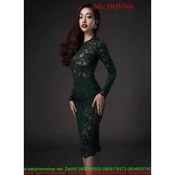Đầm ôm dài tay chất liệu ren hoa nổi sang trọng DOV866