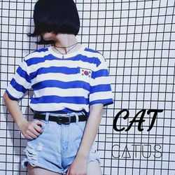 Áo thun cotton 4 chiều - Sọc cờ nhật - hình thật