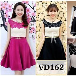 Sét nguyên bộ áo ren hoa chân váy xòe VD162