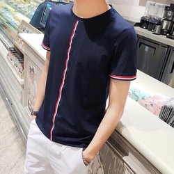Áo thun phối viền sọc 3 màu phong cách Hàn Unisex vải tốt