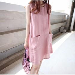 Đầm suông 2 túi trước chất thô mềm đẹp