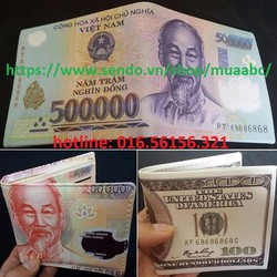 Ví Da Nam Cao Cấp Hình Tiền 200k-500k-100USD