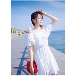 Đầm ren Lily dáng xòe trể vai