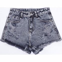 Quần Short Shorts Sooc Jeans Ngắn Cạp Lưng Cao Nữ Mài Rách 020 G