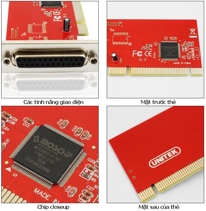 Card chuyển đổi PCI to LPT chính hãng Unitek Y-7505 4