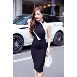 Đầm đen ôm body sang trọng thiết kế viền trắng tuyệt đẹp M3480