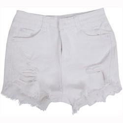 Quần Short Shorts Sooc Trắng Jeans Ngắn Cạp Lưng Cao Nữ Mài Rách