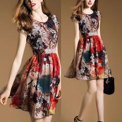Đầm xòe voan họa tiết sắc màu BD183 - HÀNG NHẬP HQ CAO CẤP