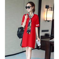 Đầm suông kèm khăn choàng phong cách 28057