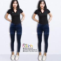 Quần jean lưng cao chấm bi xắn lai