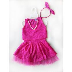 Set áo croptop vàváy ren hồng cho bé - có kèm băng đô và chuỗi