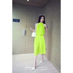 Set Áo Yếm Quần Ống Rộng Màu Xanh Neon BD157