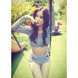 Bộ Bikini Dài Tay Thun Hàn Quốc Cao Cấp  Kín Đáo Rosabkn131