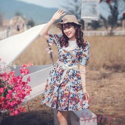Đầm thiết kế cao cấp - Đầm vintage hoa nâu