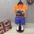 Bộ áo thun quần kaki bé trai in hình