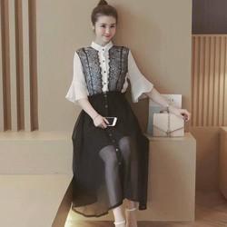 Sét áo tay loa phối ren +Chân váy voan nút xinh iu - SETKN160