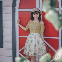 Hàng thiết kế cao cấp - Chân váy hoa xếp ly