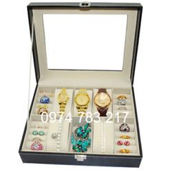 Hộp đựng 6 đồng hồ đeo tay và 4 ngăn đựng trang sức