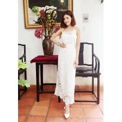 Đầm ren trắng dài đẹp thiết kế trẻ trung, tinh tế M885