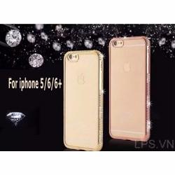 Ốp lưng iPhone 5-5s-se dẻo mẩu TH đính đá - Màu hồng