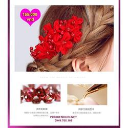 Hoa voan đỏ cô dâu 2016 nguyên liệu cao cấp