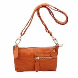 Túi đeo chéo nữ da bò thật ELMI màu nâu vàng cỡ nhỏ ETM273