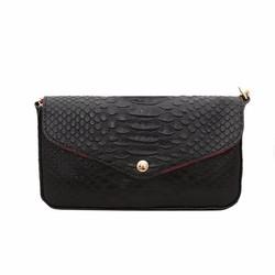 Túi đeo chéo nữ da bò thật vân cá sấu ELMI màu đen cỡ nhỏ ETM267