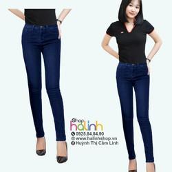 Quần jean lưng cao 1 nút xanh đen nhìu size